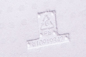 Photograph of recycling symbol on EPS packaging
