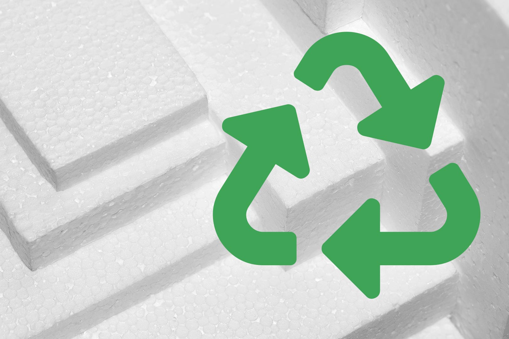 Photograph of recycling symbol over packaging