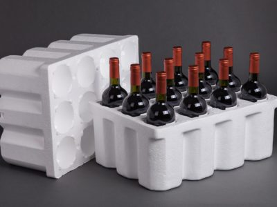 Photograph of wine bottles in an EPS case