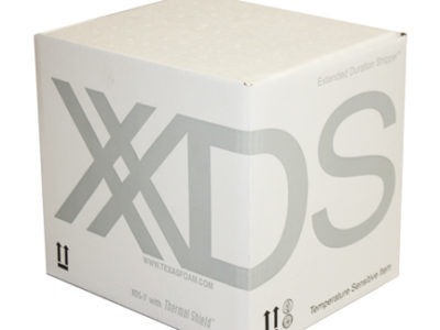 Photograph of a closed XDS shipper box