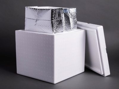 Photograph of a cold chain shipper box with protective lining